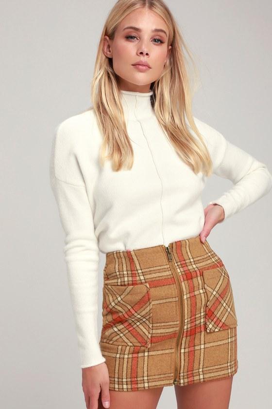 ec58b7056d Cute Light Brown Skirt - Plaid Skirt - Flannel Mini Skirt - Skirt