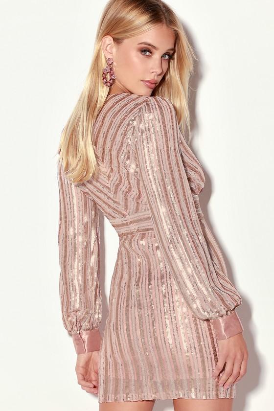 4f279304 Stunning Sequin Dress - Long Sleeve Dress - Blush Dress
