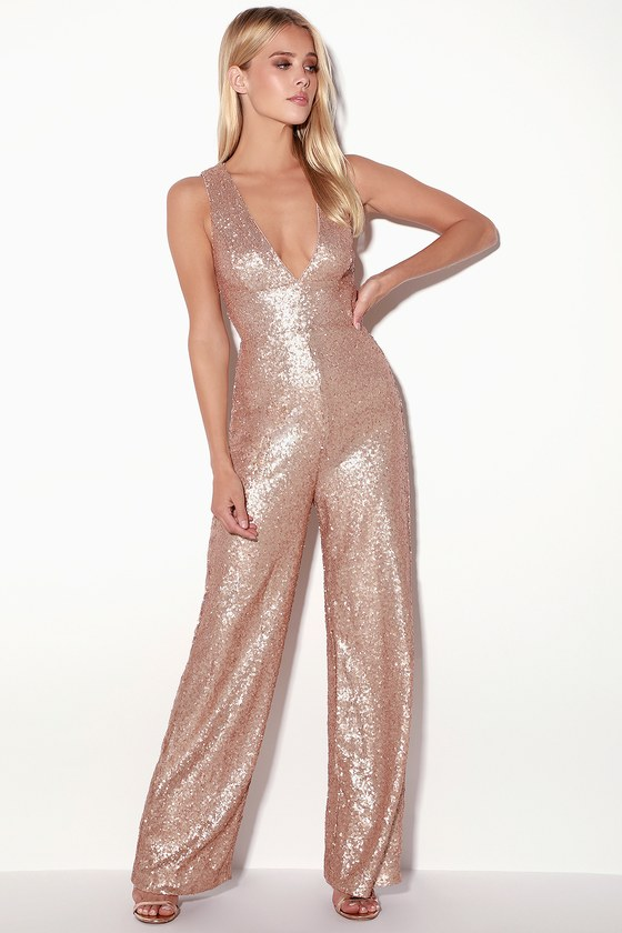 70s Prom, Formal, Evening, Party Dresses Everlasting Glam Matte Rose Gold Sequin Jumpsuit - Lulus $32.00 AT vintagedancer.com