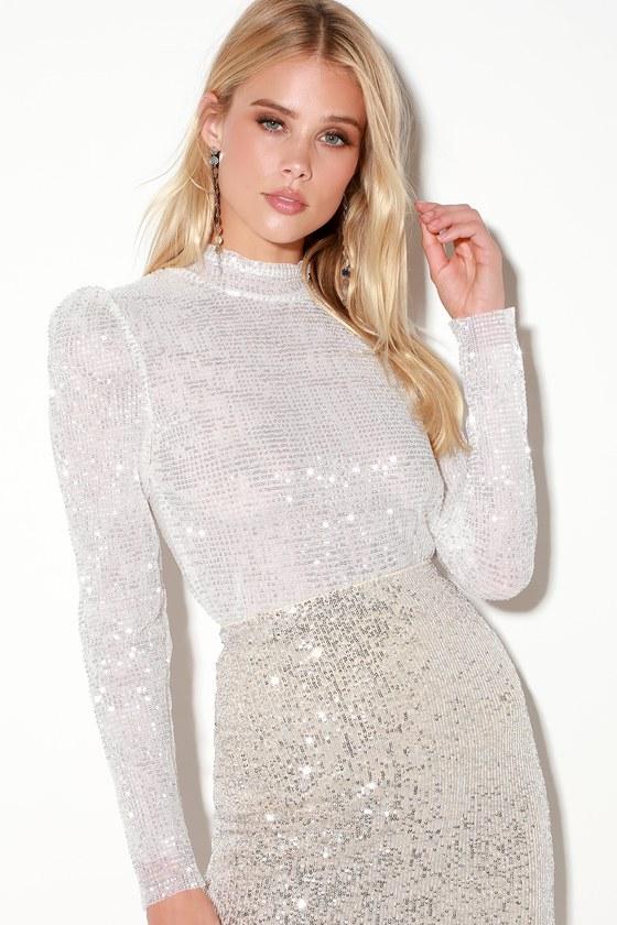 e75ede980b9 Chic White Top - Sequin Top - Long Sleeve Top - Mock Neck Top