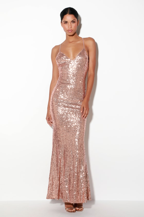 74f472c8 Luxe Maxi Dress - Rose Gold Maxi Dress - Sequin Mermaid Dress