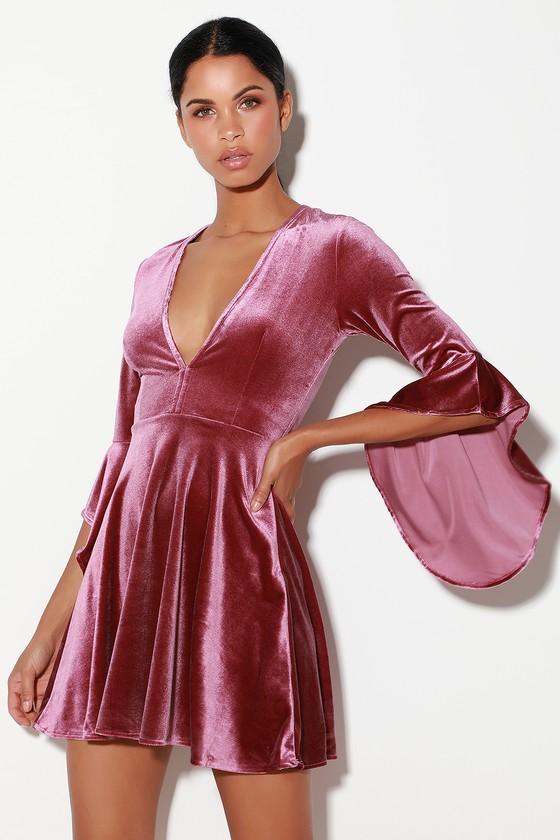 Cute Mauve Dress - Velvet Dress - Skater Dress cf3681d1e