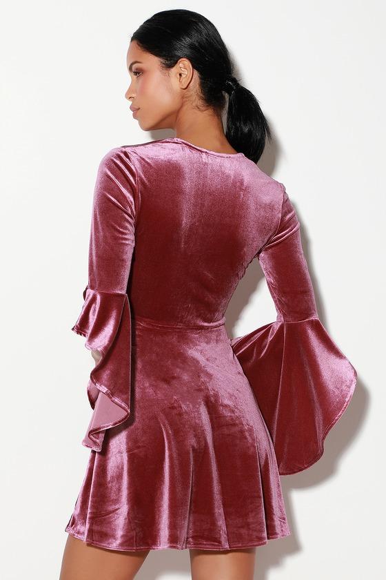 Wrapped in Luxe Mauve Velvet Bell Sleeve Skater Dress a6644b38b