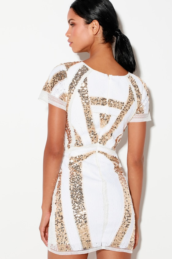 a2b8bbb9a0f52 Stunning Gold and White Sequin Dress - Sequin Bodycon Dress
