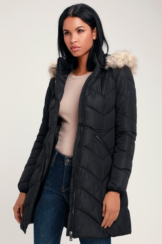 5d1d66a241acd Chic Black Puffer Coat - Quilted Puffer Jacket - Hooded Puffer