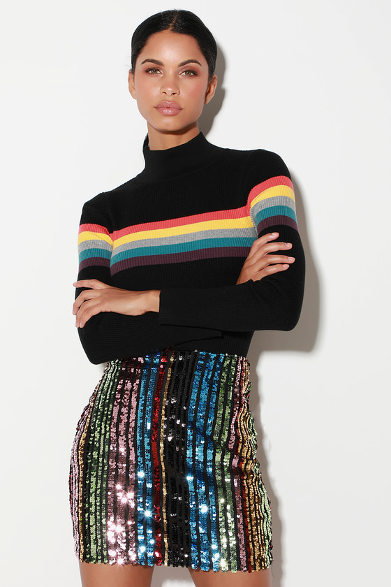 5b728d75696d Dazzling Mini Skirt - Sequin Mini Skirt - Rainbow Stripe Skirt