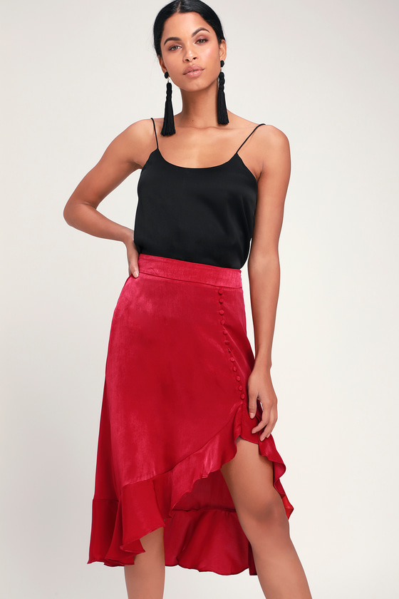 3f664661a0 Chic Berry Red Skirt - Ruffled Midi Skirt - Button Front Skirt