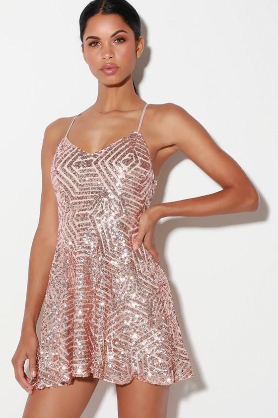 dce70274 Rose Gold Sequin Dress - Sequin Skater Dress - Cutout Dress