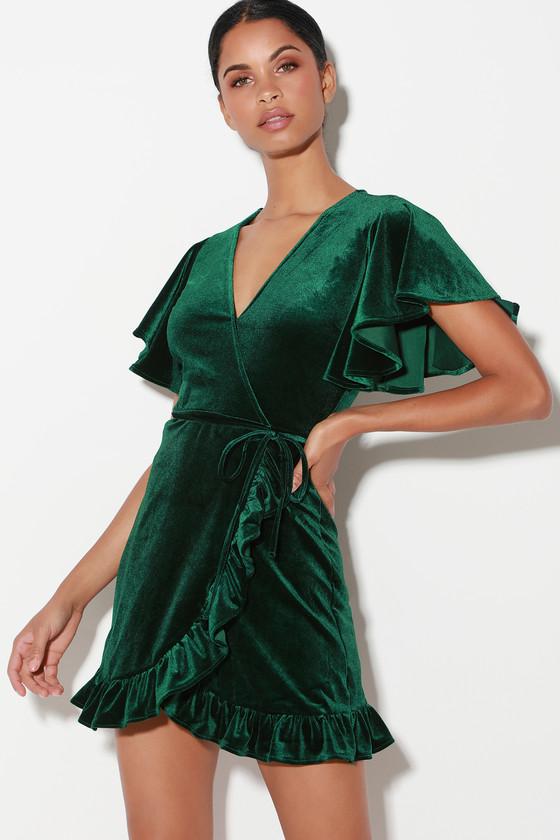 f801abecf60 Jack by BB Dakota West Village - Dark Green Velvet Wrap Dress
