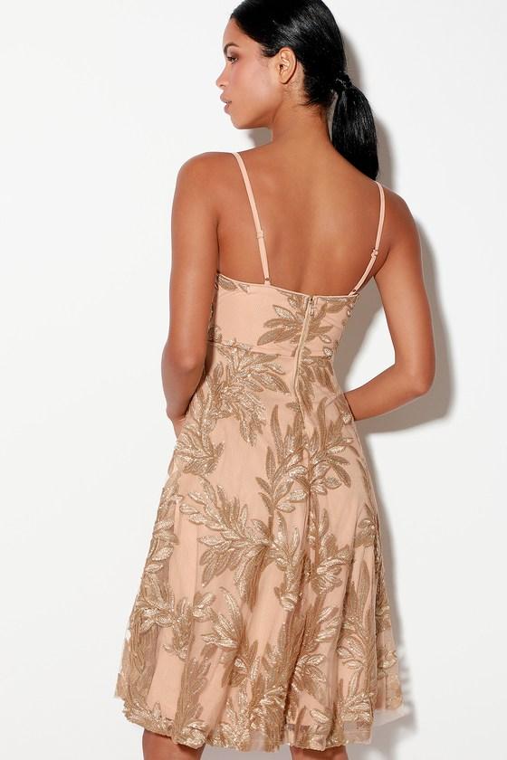 4f29bac947c3 Lovely Gold Sequin Dress - Nude Midi Dress - Midi Skater Dress