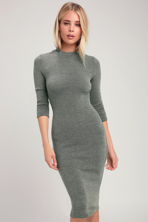 b61e5a99ad8a1 Olive Green Sweater Dress - Mock Neck Dress - Midi Sweater Dress