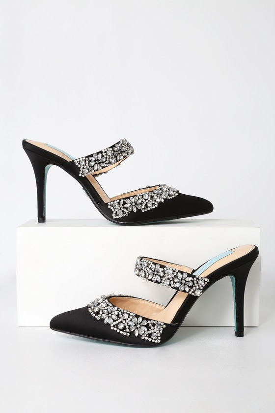 a898a13119 Elina Black Satin Rhinestone Pointed-Toe Mules