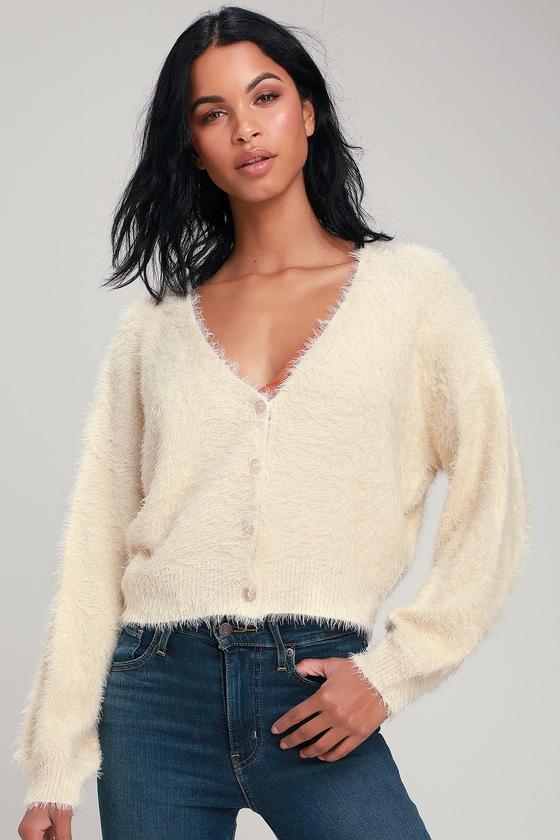 b1ef47c916 Cute Cream Sweater - Cardigan Sweater - Fuzzy Sweater - Sweater