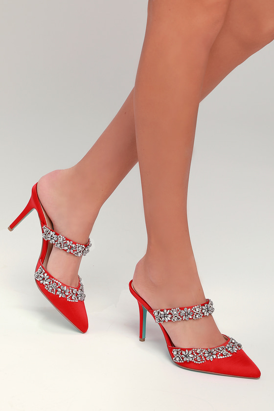 cea656d99974 Blue by Betsey Johnson Elina - Red Heels - Red Rhinestone Heels