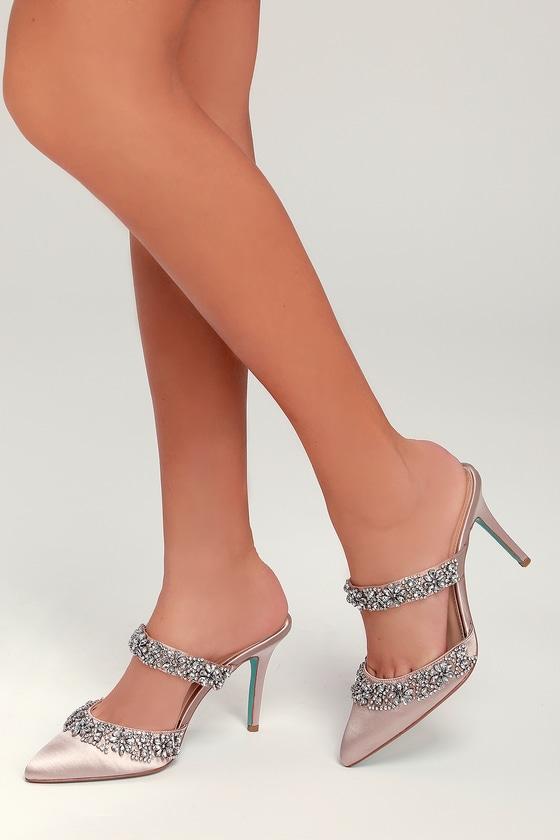 7bc8d409a9fc Blue by Betsey Johnson Elina - Nude Heels - Nude Rhinestone Heels