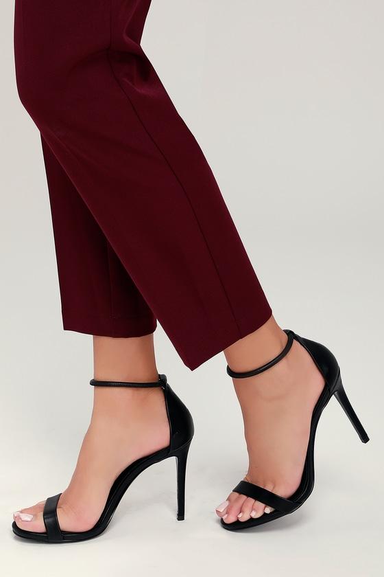 5129e2525cd Steve Madden Soph Heels - Black Heels - Ankle Strap Heels