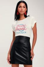 1db24741f Cute Vegan Leather Skirt - Black Mini Skirt - Pleather Mini Skirt