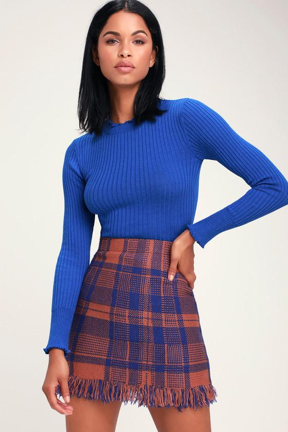 7c7abfa5858 Moon River Meagan - Rust and Blue Skirt - Blue Plaid Mini Skirt