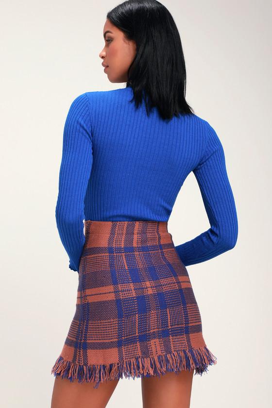 Moon River Meagan Rust And Blue Skirt Blue Plaid Mini Skirt
