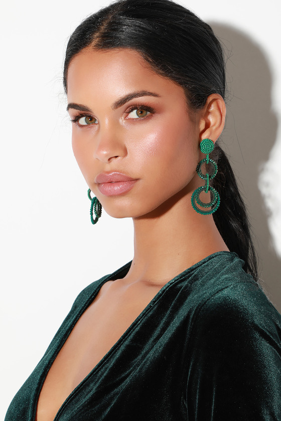 Circe Green Beaded Statement Earrings