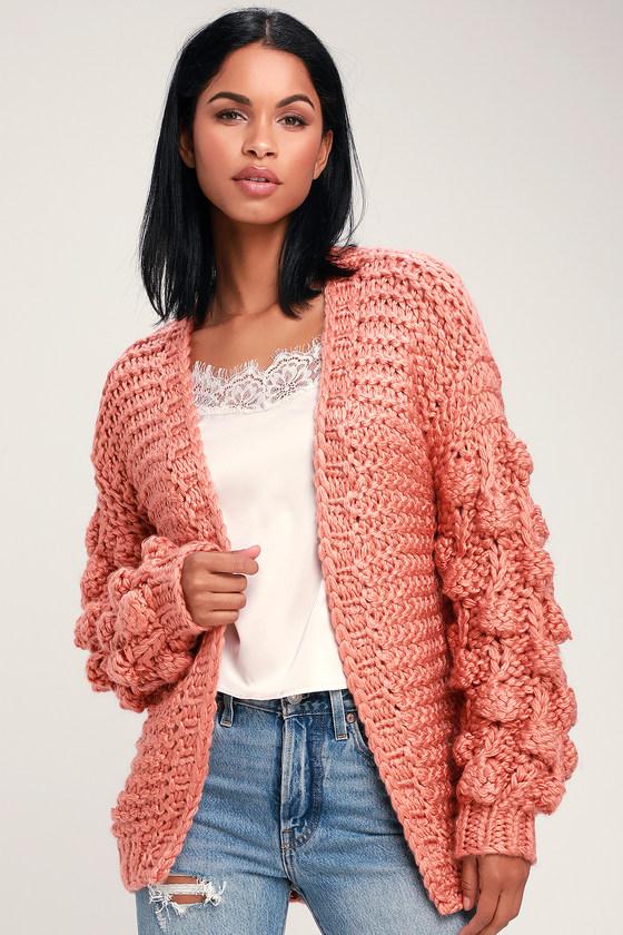 8a47c2edd0 Cuddly Rusty Rose Sweater - Cardigan Sweater - Pom Pom Sweater
