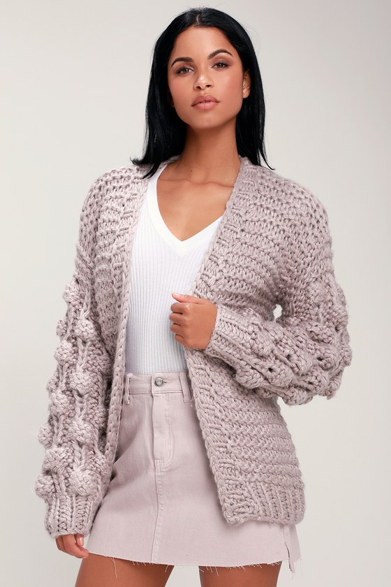 4a0384f155 Cuddly Lavender Sweater - Cardigan Sweater - Pom Pom Sweater
