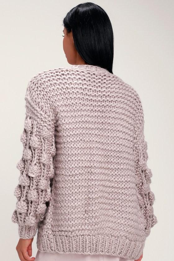 Cuddly Lavender Sweater - Cardigan Sweater - Pom Pom Sweater 310df1242