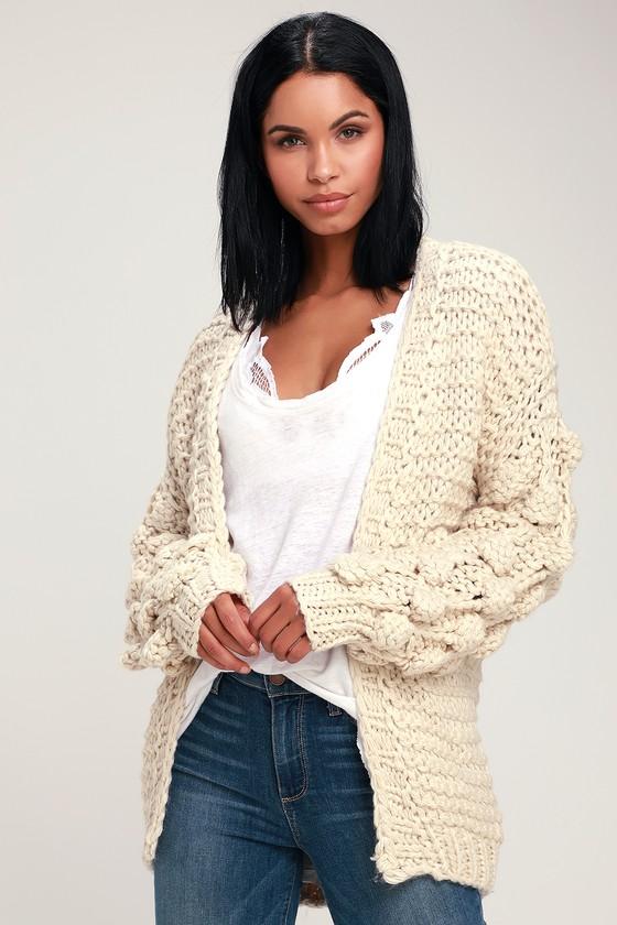 ac6427b2ed Cuddly Ivory Sweater - Cardigan Sweater - Pom Pom Sweater