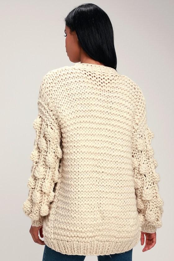 Cuddly Ivory Sweater - Cardigan Sweater - Pom Pom Sweater 13ec481b9