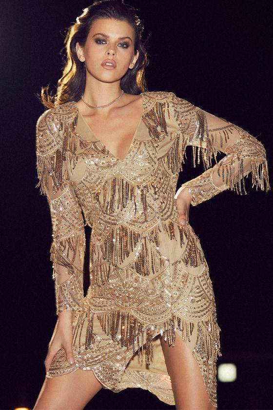 50c2a8cb50d Beautiful Gold Dress - Embroidered Dress - Sequin Midi Dress
