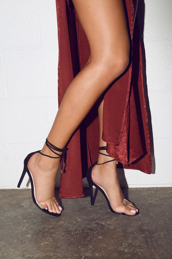 218a5ef2b6dd Sexy Lace-Up Heels - Vegan Suede Lace-Up Heels - Lucite Heels