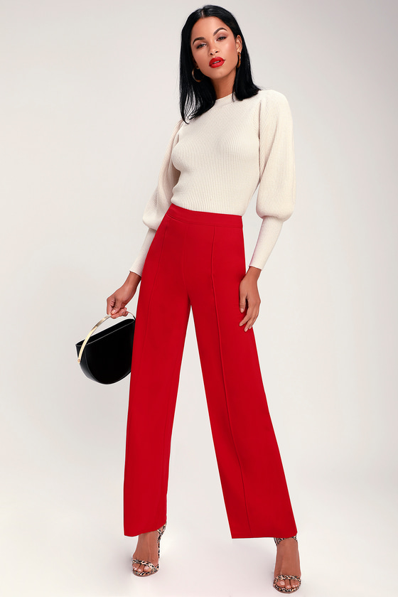 d4250e44b708 Cute Pants - Red Pants - Wide Leg Pants - Trouser Pants