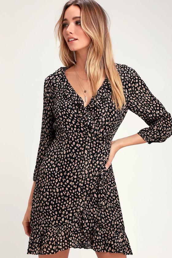 719dce99f546c5 Black Animal Print Dress - Print Mini Dress - Black Wrap Dress