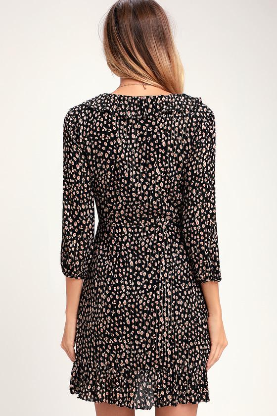 Black Animal Print Dress - Print Mini Dress - Black Wrap Dress ea7161de4