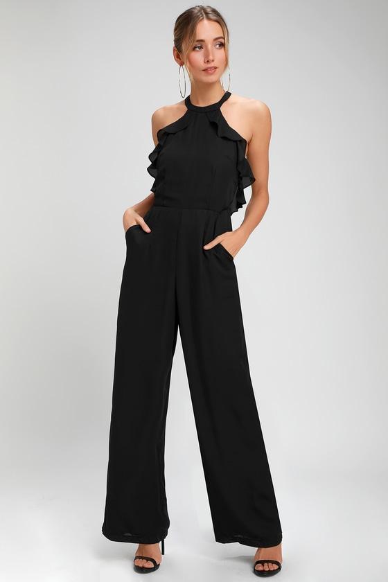 60s – 70s Pants, Jeans, Hippie, Bell Bottoms, Jumpsuits Moonlit Midnight Black Ruffled Jumpsuit - Lulus $33.00 AT vintagedancer.com
