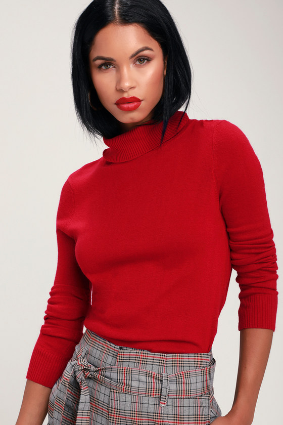 8dde4a6ed682 Cozy Red Turtleneck Sweater - Knit Sweater - Sweater Top