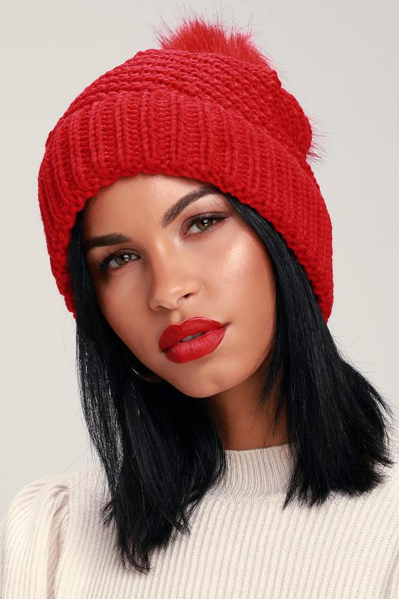 Cute Red Beanie - Pom Pom Knit Beanie - Faux Fur Pom Pom Beanie 400c19993f9