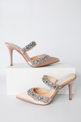 43a1a42586cf37 Betsey Johnson Rina Silver Rhinestone Ankle Strap Heels. Only 1 Left!  119  · Elina Nude Satin Rhinestone Pointed-Toe Mules