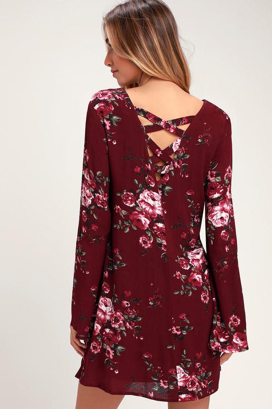 Cool Floral Print Dress - Burgundy Floral Dress - Shift Dress 790dcb7eb