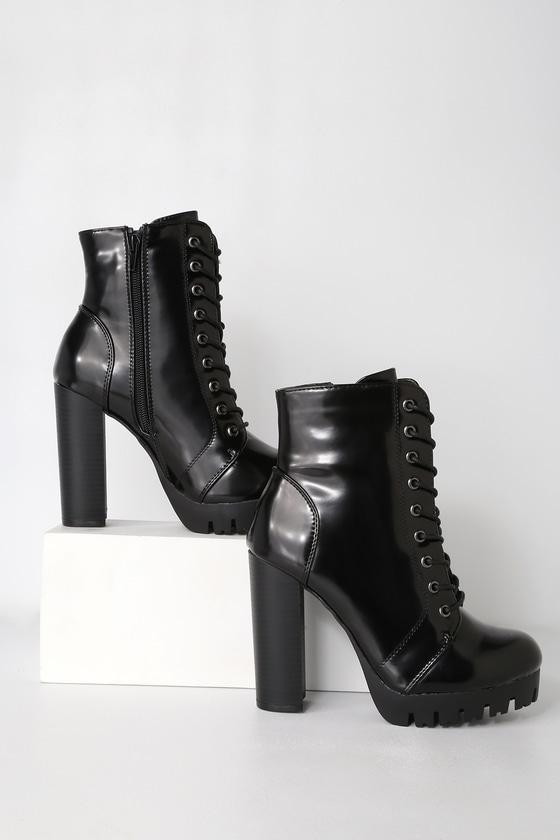 5a082b94c58b Cool Black Boots - Platform Boots - Black Patent Boots