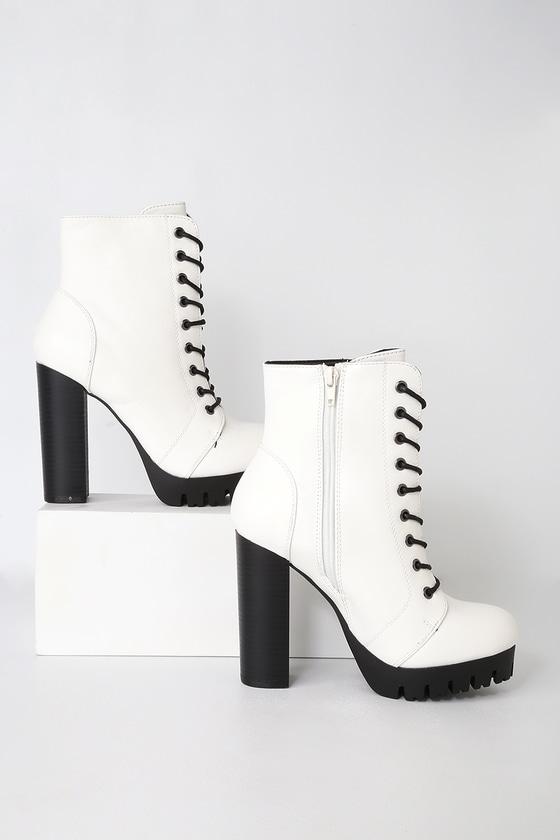 innovative design 21bc2 48c57 Gigi White Lace-Up Platform Boots