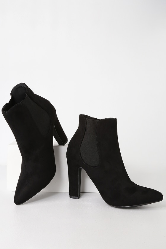 Rabea Black Suede High Heel Ankle Booties