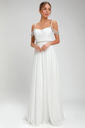 61c7405898d Love and Devotion White Beaded Maxi Dress