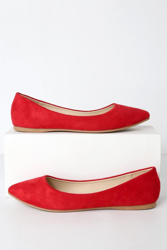 Red Flats - Suede Flats - Vegan Flats
