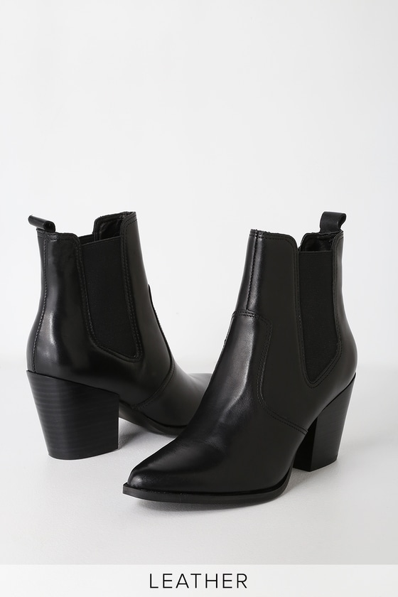 172bc4a451f Steve Madden Patricia - Black Leather Ankle Boot - Chelsea Boot