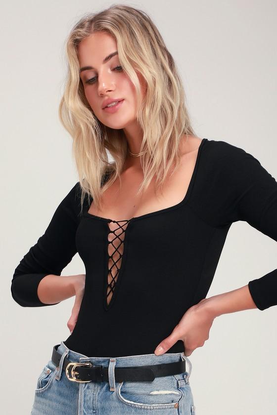 fcce1706e7d Honey Punch Bodysuit - Black Ribbed Bodysuit - Lace-Up Bodysuit