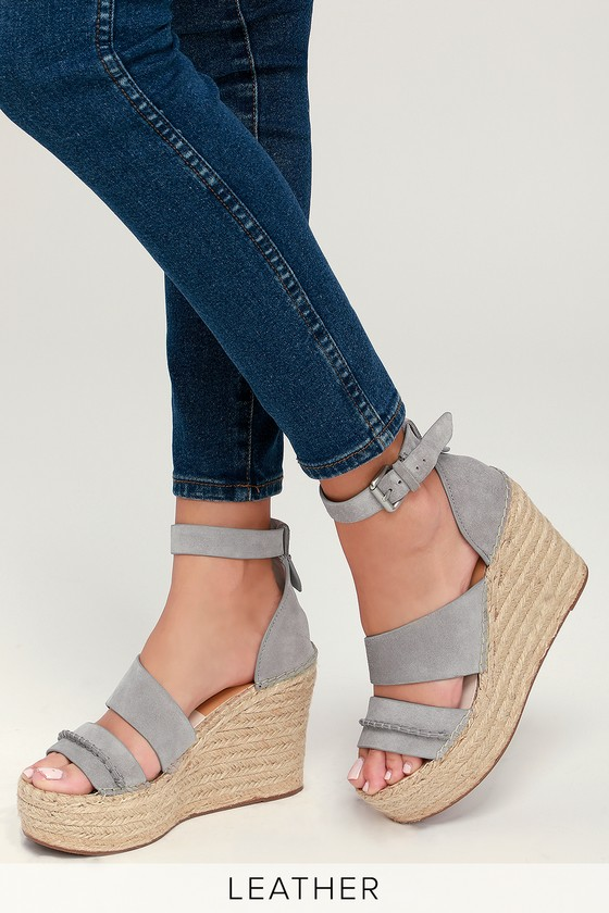 60aef2f23ab3 Dolce Vita Simi - Smoke Suede Leather Wedges - Espadrilles