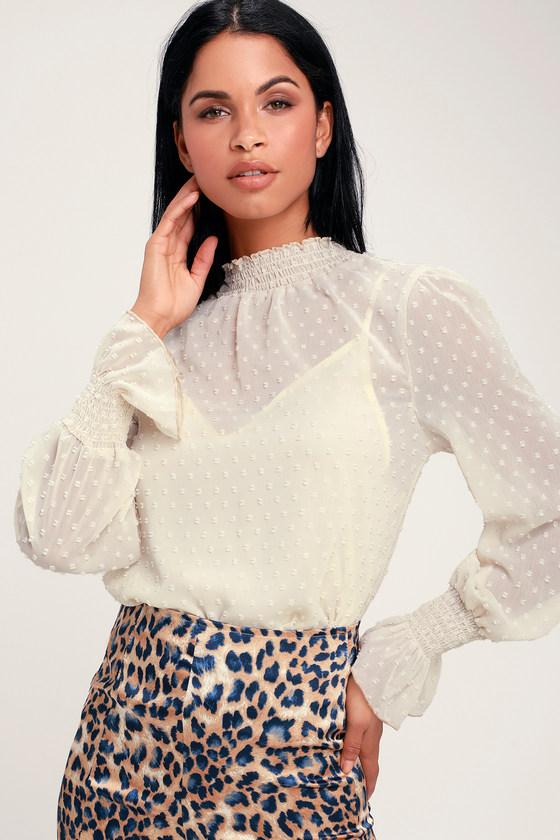 Women's 70s Shirts, Blouses, Hippie Tops Darlena Ivory Swiss Dot Long Sleeve Top - Lulus $46.00 AT vintagedancer.com