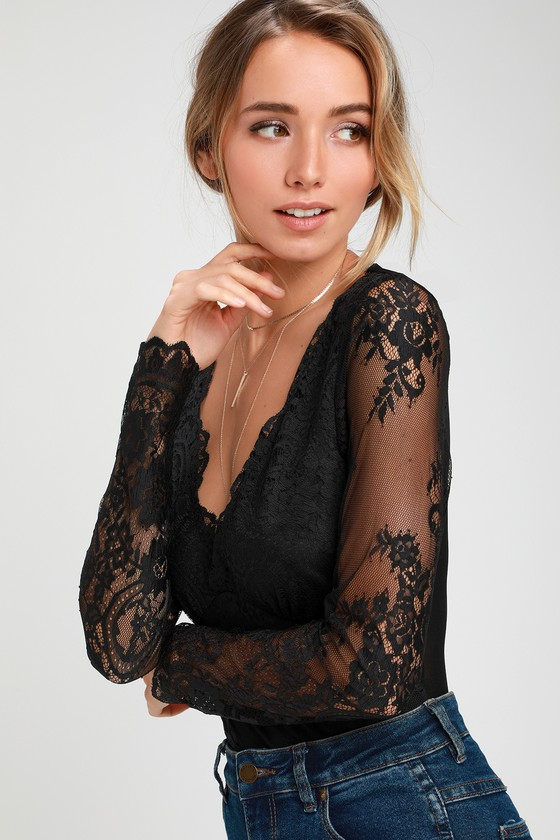 e9bc2766e2 Sexy Black Bodysuit - Long Sleeve Bodysuit - Lace Bodysuit