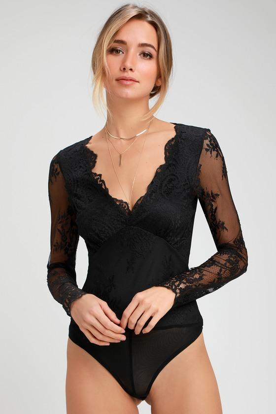 Sexy Black Bodysuit - Long Sleeve Bodysuit - Lace Bodysuit 72e02fbc2